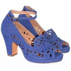 Chelsea Crew Blue Archie Lasercut Heels